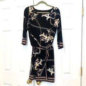 White House Black Market Mini Black Pattern dress